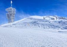 Vista sulla cima del Mt Titlis un giorno ventoso Fotografie Stock Libere da Diritti