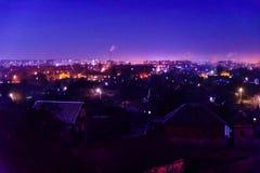 Vista sulla città di mezzanotte Alessandria d'Egitto, Ucraina fotografia stock libera da diritti