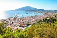 Vista sulla città di Zacinto, Grecia fotografie stock