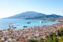 Vista sulla città di Zacinto, Grecia immagini stock