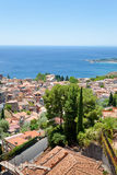Vista sulla città Taormina sul litorale ionico Fotografia Stock Libera da Diritti