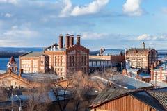 Vista sulla fabbrica di birra di Zhiguli in samara, Russia Fotografie Stock Libere da Diritti