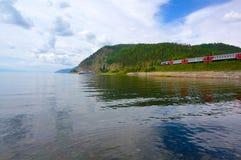 Vista sulla ferrovia storica di Circum Baikal Fotografia Stock
