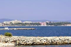 Vista sulla linea costiera bulgara nella luce del giorno Immagini Stock
