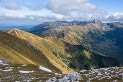 Vista sulla montagna di Kasprowy Wierch e di Tatra Immagine Stock Libera da Diritti