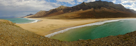 Vista sulla spiaggia Cofete su Fuerteventura, Spagna Fotografie Stock Libere da Diritti