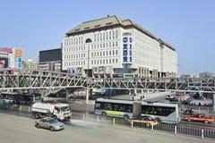 Vista sulla strada dei negozi di Xidan, Pechino, Cina Immagini Stock Libere da Diritti