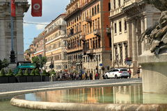 Vista sulla via dal delle Naiadi di Fontana a Roma, Italia Fotografie Stock Libere da Diritti