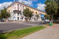 Vista sulla via del theGazon nell'area storica di Velikiy Novgorod immagine stock