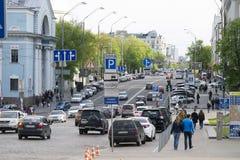 Vista sulla via di Volodymyrska, Kyiv, Ucraina Fotografia Stock