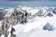 Vista sulle alpi francesi sopra Chamonix-Mont-Blanc Fotografie Stock Libere da Diritti