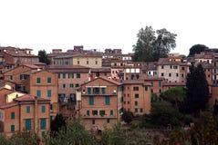 Vista sulle case delle terre di Siena, toscany, Italia Fotografia Stock