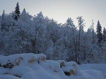 Vista sulle colline durante del il inverno ricco di neve Fotografia Stock Libera da Diritti