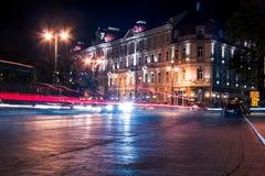 Vista sulle costruzioni di notte Fotografie Stock