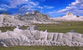 Vista sulle creste delle montagne Ustyurt Fotografia Stock Libera da Diritti