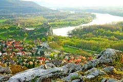 Vista sulle rovine del castello Devin Fotografia Stock