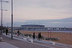 Vista sullo stadio dell'arena di Zenit a St Petersburg, Russia, Fotografia Stock Libera da Diritti
