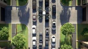 Vista superior, ônibus do ar no ambiente urbano animação 3D 4K vídeos de arquivo