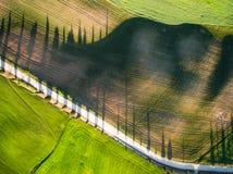 Vista superior aérea de un campo verde Estación de verano Imagenes de archivo