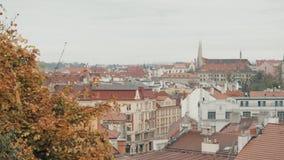 Vista superior aos telhados de telha vermelha da república checa da cidade de Praga Casas típicas de Praga vídeos de arquivo