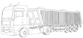 Vista superior Caminhão do caminhão basculante no fundo, no transporte transparente da logística e no transporte de frete da carg ilustração do vetor