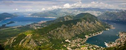 Vista superior da baía e do Tivat de Boka Kotor da montanha de Lovcen, Monte fotografia de stock royalty free
