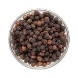 Vista superior da bacia de pimenta preta orgânica Foto de Stock Royalty Free