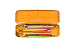 Vista superior da caixa de lápis suja da cor do vintage no fundo branco Foto de Stock