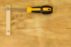 Vista superior da chave de fenda e do parafuso Fotos de Stock Royalty Free