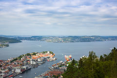 Vista superior da cidade de Bergen imagem de stock royalty free