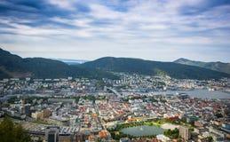 Vista superior da cidade de Bergen fotografia de stock