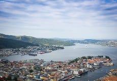 Vista superior da cidade de Bergen fotos de stock royalty free