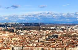 Vista superior da cidade de Lyon e do teatro da ópera velhos de Lyon, Lyon, França Imagem de Stock Royalty Free