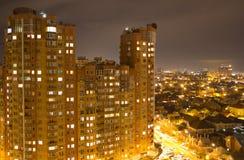 Vista superior da cidade da noite fotografia de stock