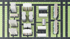 Vista superior da cidade rendição 3d Imagem de Stock