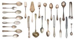 Vista superior da faca, da colher bonita e da forquilha da prata do vintage isoladas no fundo branco silverware imagem de stock