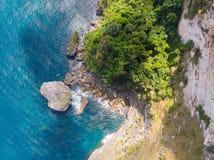 Vista superior da floresta tropical da ilha e da água clara esmeralda em bali fotos de stock
