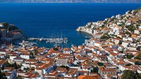 Vista superior da ilha do Hydra, Mar Egeu Imagem de Stock Royalty Free