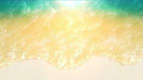 Vista superior da paisagem surpreendentemente bonita do mar com água de turquesa No Sandy Beach com espuma da onda Anima??o do la filme