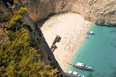 Vista superior da praia de Navagio Fotografia de Stock Royalty Free