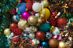 Vista superior das bolas do Natal Fotos de Stock Royalty Free