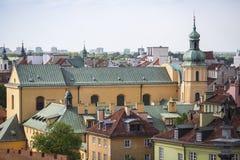 Vista superior das casas no centro histórico de Varsóvia Fotografia de Stock Royalty Free