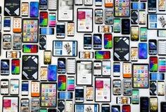 vista superior das tabuletas e dos smartphones Imagem de Stock Royalty Free