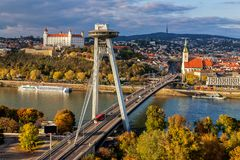 Vista superior de Bratislava, capital de Eslováquia Foto de Stock