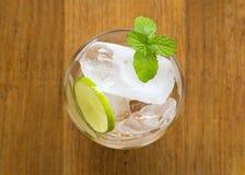 Vista superior de cubos de gelo em um vidro com limão cortado e minuto fresco imagens de stock royalty free