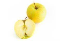 Vista superior de duas maçãs amarelas Fotos de Stock