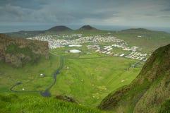 Vista superior de Heimaey, ilhas de Westman Imagens de Stock Royalty Free