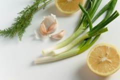 Vista superior de ingredientes frescos para os condimentos de cozimento saudáveis - limão, alho, cebola verde e erva-doce no fund fotos de stock royalty free