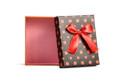 Vista superior de la caja de regalo aislada rojo Foto de archivo