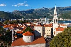 Vista superior de la ciudad vieja en Budva, Montenegro Foto de archivo libre de regalías